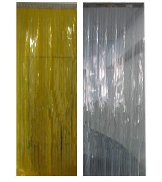 Λωριδοκουρτίνα Λεία PVC Διάφανη Κίτρινη τρέχων μέτρο