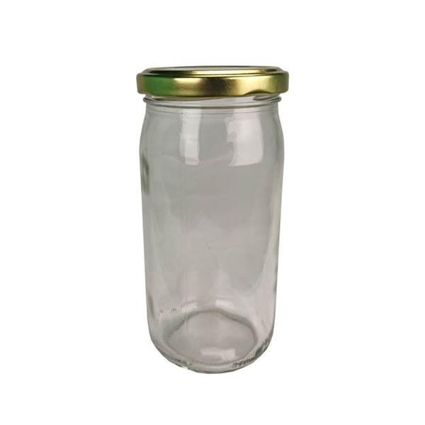 Βάζο Γυάλλινο Στρογγυλό 370 ml φ63 με Καπάκι Χρυσό Twist Off