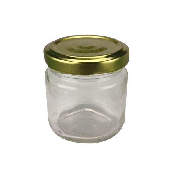 Βάζο Γυάλλινο Στρογγυλό 106 ml φ53 με Καπάκι Χρυσό Twist Off