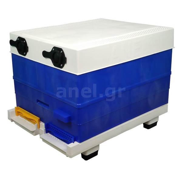 Κυψέλη ANEL Μονή με 10 Πλαίσια Πλαστικά Ακέρωτα PS και Κινητό Πάτο Αεριζόμενο Lng SET