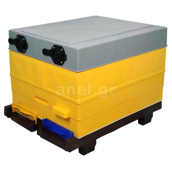 Κυψέλη ANEL Μονή με 10 Πλαίσια Πλαστικά Ακέρωτα PS και Κινητό Πάτο Κλασσικό Lng SET