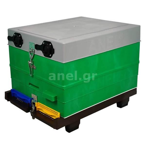 Κυψέλη ANEL Μονή με 10 Πλαίσια Πλαστικά Ακέρωτα PS, Κινητό Πάτο Αεριζόμενο Langstroth και Συνδετήρες Εφαρμοσμένους SET