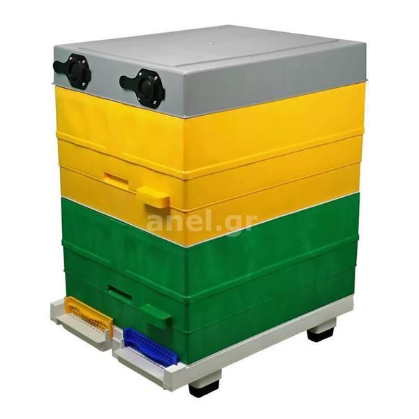 Κυψέλη ANEL Διώροφη με 20 Πλαίσια Πλαστικά Ακέρωτα PS και Κινητό Πάτο Αεριζόμενο Lng SET