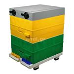 Κυψέλη ANEL Διώροφη με 20 Πλαίσια Πλαστικά Ακέρωτα PS και Κινητό Πάτο Κλασσικό Lng SET