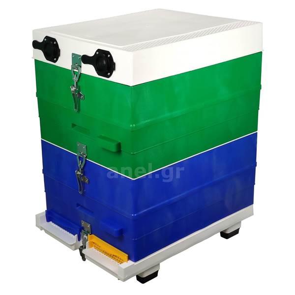 Κυψέλη ANEL διώροφη 20 πλαίσια πλαστικα, πάτος αεριζόμονος και συνδετήρεςΚυψέλη ANEL διώροφη 20 πλαίσια πλαστικα, πάτος αεριζόμονος και συνδετήρες